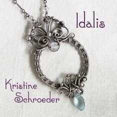 Idalis Circle Necklace in Sterling Silver, Blue Topaz, Aquamarine. Kristine Schroeder Studio