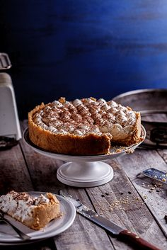 Delectable banoffee pie with white chocolate mousse and a buttery cookie crust.