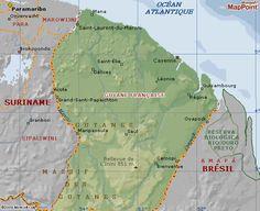 Carte géographique de la Guyane française