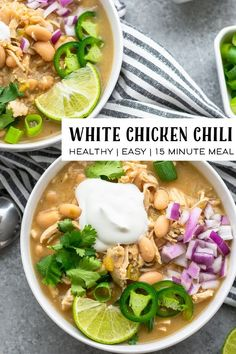 This recipe for white chicken chili is a comforting and delicious soup that is healthy and dairy free. It's so easy to make in just 15 minutes! Real Food Recipes, Healthy Recipes, Healthy Soups, Broccoli Recipes, Sausage Recipes, Shrimp Recipes, Turkey Recipes, Bean Soup Recipes, Chili Recipes