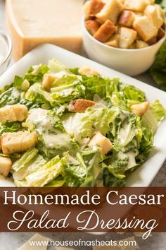 Homemade Caesar Salad Dressing makes a huge impact in this Classic Caesar Salad made with crisp romaine lettuce, crunchy croutons, nutty Parmesan, and of course, the original savory dressing that is so much better than Homemade Caesar Salad Dressing, Salad Dressing Recipes, Homemade Dressing, Best Salad Recipes, Healthy Recipes, Amazing Recipes, Yummy Recipes, Cesar Salat, Classic Caesar Salad