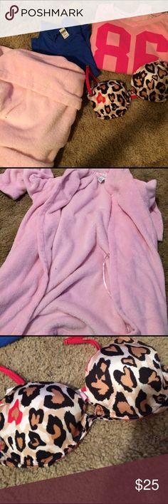 Vs pink robe Pink hooded robe, vs Blume v neck, vs pink crew neck, and vs lightly push up bra 34b Victoria's Secret Intimates & Sleepwear Robes