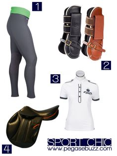 équipement cheval (numéro 2 et 4) et cavalier (numéro 1 et 3)