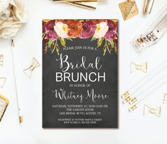 Chalkboard Bridal Shower Invitation Fall Floral Brunch Wedding