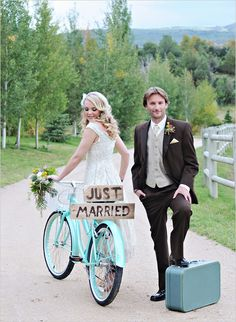 Bride and groom wedding photos with cool vintage bike. If only we could find one in time!