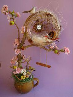 Cute idea for bird house! 🙂 Cute idea for bird house! Hobbies And Crafts, Diy And Crafts, Crafts For Kids, Arts And Crafts, Cup Crafts, Easter Crafts, Floating Tea Cup, Topiary Centerpieces, Diy Y Manualidades