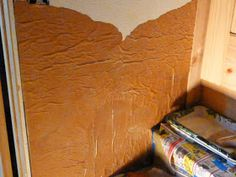 Faux Leather Wall Treatment for the stairwell. In January of this year I began to work on finishing the stairwell. It has been built for . Faux Leather Walls, Stair Well, Diy Wood Wall, House Wall, Easy Wall, Decorating Tools, Concrete Wall, Wall Treatments, Clean House