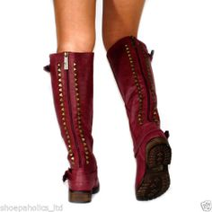 Studded Buckle Riding Knee High Boots Berry Size 5 5 to 11   eBay