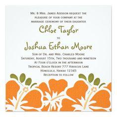 Orange Hibiscus Wedding Invitations