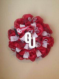 OKLAHOMA SOONERS Mesh wreath by GlitzyWreaths on Etsy, $75.00