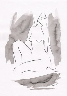 Black and white nude sketch. Original watercolor by siret on Etsy