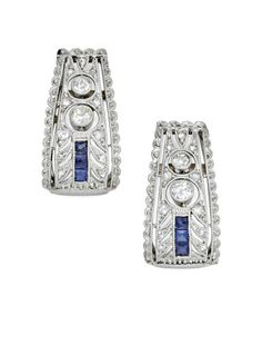 A Pair Of Art Deco Diamond And Sapphire Earrings