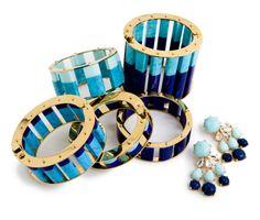 Lele Sadoughi blue sliders and chandelier earrings
