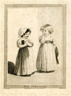 The Strangers, 1794. British Museum 1941,1213.614 This child on the left is a girl. The child on the right is a boy. Shows how children were dressed in this period.