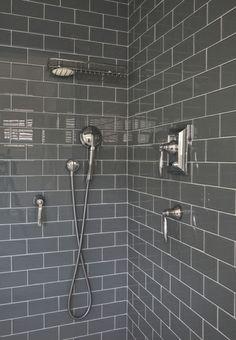 grey shower tile - bathroom