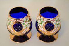 2 Cobalt Blue Bohemian Style Cognac Brandy Glasses with Enamel Flowers Gold