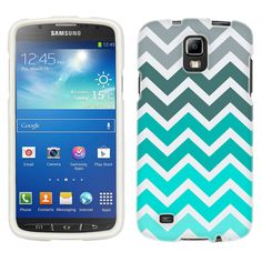 Samsung Galaxy S4 Active Chevron Grey Green Turquoise Pattern Phone Case Cover $8.99
