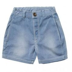Baobab – Pale Denim Square Shorts Boys loose fit, washed denim shorts made from 97% cotton 3% elastane fabric with easy access side pockets, stud opening and and adjustable waistband.  Machine washable. Available in pale blue denim.