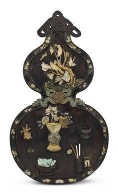 A LARGE JADE AND HARDSTONE-INLAID ZITAN PANEL  QING DYNASTY, 18TH – 19TH CENTURY
