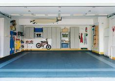 garages - gray cabinets blue floors bike rack clean organized garage Gray cabinets, blue floors and bike racks. A clean and very organized garage. Garage Wall Shelving, Garage Walls, Garage Cabinets, Garage House, Grey Cabinets, Wall Shelves, Utility Cabinets, Garage Studio, Garage Shop