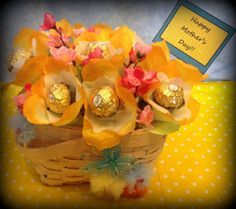 Handmade Chocolate Basket - Ferrero Rocher flowers in handcrafted basket - Mothers Day Gifts, Anniversary, Birthday, Thank You Gifts
