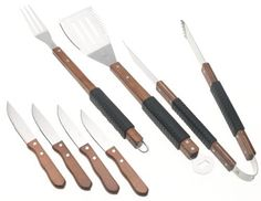 Mr. Bar-B-Q 7-Piece Rubber/Finger Grip Tool Set by Mr. Bar-B-Q. $15.50. 4-in-1 spatula cuts, tenderizes, flips, and opens bottles. Textured rubber grips on wooden handles. 5-year warranty. 7-piece deluxe stainless-steel barbecue tool set. Includes spatula, fork, tongs, 4 steak-house quality knives. Amazon.com                Serious barbecuers need serious tools, and this 7-piece set meets the demand. All the pieces are constructed of commercial quality stainless...