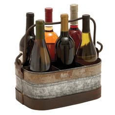 This wine holder has six compartments which can be used to carry or display wine bottles on kitchen counters or bars for a rustic, attractive appeal.