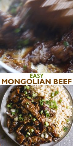This easy Mongolian Beef recipe is better than take-out and can be made in just 30 minutes! Tender beef and fresh green onions in an amazing garlic and ginger asian sauce, served over hot cooked rice. Best Beef Recipes, Mexican Food Recipes, Chicken Recipes, Healthy Recipes, Beef Chuck Recipes, Cubed Beef Recipes, Chinese Beef Recipes, Beef Skirt Recipes, Recipes With Beef Cubes
