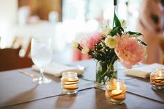Simple-Peony-Centerpiece and BABY FOOD JARS...