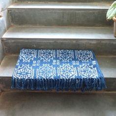 Blue Indigo Dyed Resist Print Hand Block Printed Dhurries SKU 2786