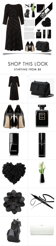 """""""monochrome all black"""" by marina-marina-iv ❤ liked on Polyvore featuring Phase Eight, Yves Saint Laurent, Jimmy Choo, Chanel, Bobbi Brown Cosmetics, LSA International, Hot Topic and allblack"""