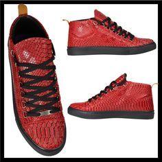 df8abf200b9 Heren Hoge Rode Python Sneakers HCS090   Modedam.nlDe mooiste heren schoenen  bestelt u in