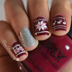 We this ugly sweater themed holiday mani from @just1nail featuring Scandal from our new collection, Infamous #regram http://www.orlybeauty.com/nail-color/nail-color-by-collection/infamous.html