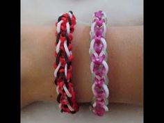 Rainbow Loom INVERTED CANDY CANE Bracelet (Variation of the Inverted Fishtail). Conceived and loomed by Claire's Wears. Click photo for YouTube tutorial. 05/26/14.