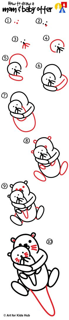 Learn how to draw mom & baby otter!