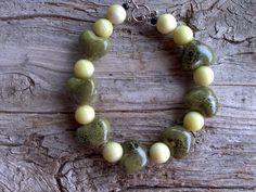 Ceramic hearts and new jade beaded bracelet 8 by windinhishare, $7.49