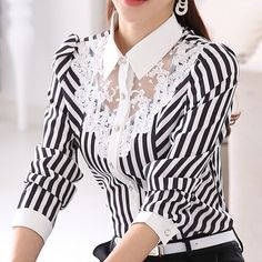 2017 New Women Lace Blouses Long Sleeve Lapel Striped Shirt Casual Fashion OL Work Tops Blusas Femininas Plus Size . Formal Blouses, Formal Shirts, Lace Blouses, Blouses 2017, Mode Pop, Camisa Formal, Striped Long Sleeve Shirt, Striped Shirts, Striped Tops
