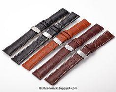 Lerderband mit Faltschließe in Edelstahl - Schwarz mit weißer Stepnaht Leather Watch Bands, Bag Organization, Cowhide Leather, Bag Storage, Watches, Multifunctional, Smart Watch, Pouch, Accessories