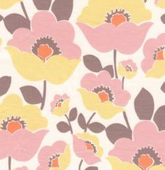 Free Spirit Fabric - Fall House - Pink Grey Floral - Quilt Fabric