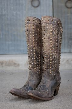 Corral Ladies Tall Studded Zip Up Snip Toe Cowgirl Boot C2817