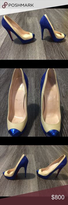 Size 39.5 Christian Louboutins I bought these beauties in brand new 2011, but only have worn them 2x. Sole replaced by expert NYC cobbler with matching red vibram to prevent stripping of the leather at the edges and also to avoid slippage when walking! Christian Louboutin Shoes Heels