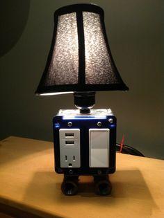 Vintage Style Table or desk lamp & USB charging station