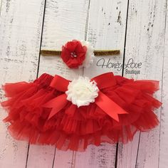 3259d12d6 My 1st Christmas Outfit - Gold/Silver - Red, Ivory and Glitter -  Embellished tutu skirt bloomers