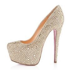 Luxury And Fashionable Christian Louboutin Daffodile Strass Platforms Aurora Boreale CFY Gets More Praise From Customers! Cheap Christian Louboutin, Gold Pumps, Prom Heels, Shoe Show, Fashion Heels, Bridal Shoes, Wedding Shoes, Wedding Stuff, Dream Wedding