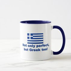 Shop Perfect Greek Mug created by worldshop. Fruit Puns, Funny Fruit, Greece Flag, Flags Of The World, Flag Design, National Flag, Home Reno, Photo Mugs, Funny Jokes