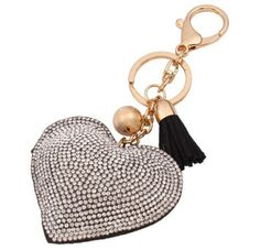 Romantic Women Key Chain Love Heart Pendant Leather Rhinestone Key Finder Keyring Gift Four Colors Wholesale Romantic Woman, Key Finder, Leather Key, Love Heart, Key Rings, Women Accessories, Personalized Items, Pendant, Colors