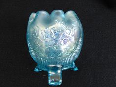 Northwood Fine Cut and Roses Rose Bowl! Ice Blue! Carnival Glass!.