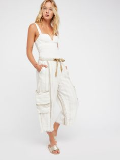 Glory Days Striped Pant | Comfy linen pants featuring a washed and worn look with a drawstring waist, slouchy side pockets and a cool frayed hem. * Faux back pockets and small side pockets