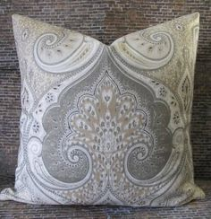Designer Pillow Cover 18 x 18 Latika Ikat Gray by 3BModLiving