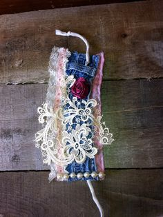 Vintage lace cuff bracelet with denim and glitter by FAITHandLACE, $15.00